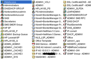 """NetIQ eDirectory - Novell stores a large amount of network and server configuration data within eDirectory. In this example, the server name is """"ADMIN1"""". Shown is an organizational unit, user groups, print queues, disk volumes, the server itself, print servers, Novell licensing, user template, secure authentication service, encryption key pairs, service location protocol, LDAP server, DNS configuration, DHCP configuration, Bordermanager server config, Novell installation service, SNMP config"""