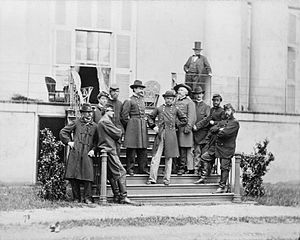 White House of the Confederacy - Maj.Gen. E.O.C. Ord and staff on the South Portico of the White House of the Confederacy, 1865, Library of Congress