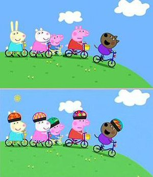 "Peppa Pig - Comparison of identical frame in original (top) and re-edited versions of the Series 1 episode ""Bicycles"", with cycle helmets added."