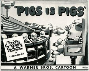 Pigs Is Pigs (1937 film) - Blue Ribbon re-release lobby card, 1947