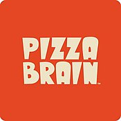 Pizza brain restaurant square logo design.jpg