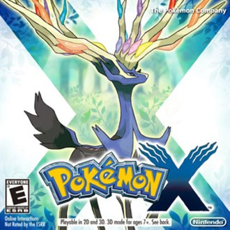 Pokémon X and Y - North American packaging artwork for Pokémon X, depicting the Legendary Pokémon Xerneas
