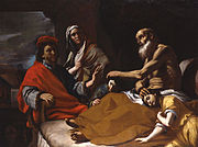 Jacob blessing his grandchildren, Ephraim and Manasseh, in the presence Joseph and their mother Asenath by Mattia Preti, 17th century (Whitfield Fine Art Gallery).
