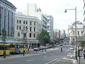 Princes Street, Dunedin - From The Exchange, looking north up Princes Street towards The Octagon. The historic Southern Cross Hotel building is prominent, centre-left, the former BNZ bank building is centre-right.