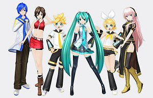Hatsune Miku: Project DIVA - Characters of the series (in standard module). (From Left to Right) KAITO, MEIKO, Kagamine Len, Hatsune Miku, Kagamine Rin, Megurine Luka (Project DIVA F graphics.)