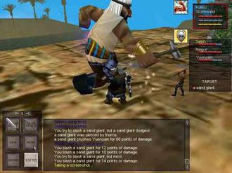EverQuest - A Sand Giant engaging a group in the Oasis of Marr, a desert zone. The low-polygon character models, low resolution, and simple user interface suggest this screenshot was taken between 1999 and 2002.