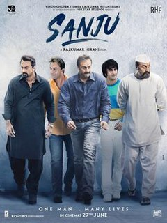 <i>Sanju</i> 2018 Indian Hindi movie directed by Rajkumar Hirani