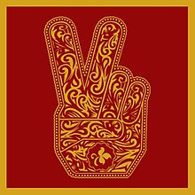 Cover of the album with a red background and a stylistically drawn image of a hand giving the peace sign in gold color