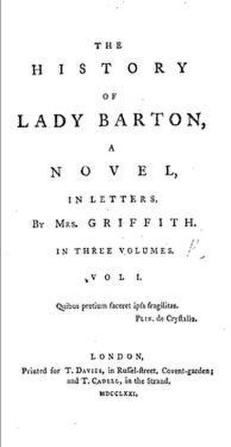 Elizabeth Griffith - Image: The History of Lady Barton, A Novel In Letters