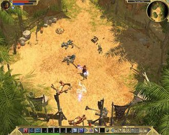 """Titan Quest - Gameplay for Titan Quest: shown are the UI, and combat between the protagonist and multiple enemies in a Grecian environments: the attacks use magical powers linked to the """"Storm"""" Mastery."""