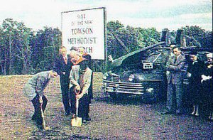 Towson United Methodist Church - Groundbreaking for the new church, October 7, 1956
