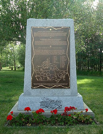 Ukrainian Canadian internment - Memorial at the Ukrainian Cultural Heritage Village, east of Edmonton, Alberta. Includes a map showing the locations of the internment camps across Canada. Dedicated on August 11, 2002.