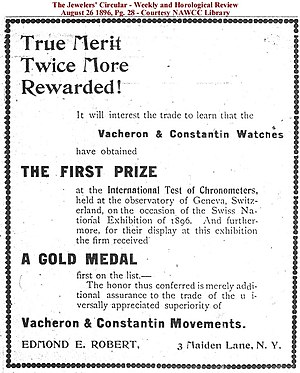 Vacheron Constantin - Advertisement from 1896 promoting their observatory trial results