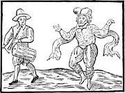 Illustration of William Kempe morris dancing from London to Norfolk in 1600