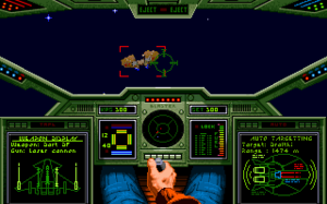 Wing Commander (video game) - Screenshot showing the cockpit of the player's ship and a targeted enemy in an outer space setting.