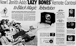 "Eugene F. McDonald - Zenith Radio Advertisement for ""Lazy Bones"" remote control, 1951"