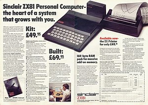 "A two-page advertising spread showing the ZX81 with a 16 KB RAM pack and ZX Printer attached, next to the headline ""Sinclair ZX81 Personal Computer – the heart of a system that grows with you"""