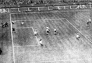 1932 FA Cup Final - Photo of Richardson (top left) crossing the ball back into the Arsenal penalty box; the ball is fully over the goal-line at the moment he played it.