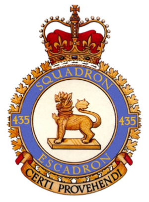 435 Transport and Rescue Squadron - 435 Squadron badge: a chinthe on a plinth