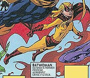 Flamebird assumes the mantle of Batwoman.  Art by Mike McKone.