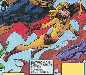 Bette Kane - Flamebird assumes the mantle of Batwoman; art by Mike McKone.