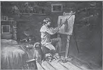 Christopher Harrison - Christopher Harrison painting in his cabin while still living as hermit near Hanover, Indiana, depicted in the book Stories of Indiana, by Maurice Thompson