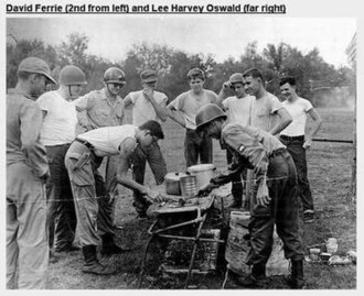 Trial of Clay Shaw - David Ferrie (second from left) with Lee Harvey Oswald (far right) in the New Orleans Civil Air Patrol in 1955. This photo showing Ferrie and Oswald together only became public after the trial was over.