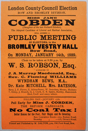 Jane Cobden - A Jane Cobden campaign poster, January 1889