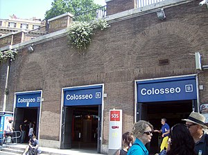 Colosseo (Rome Metro) - The main entrance to the station on the Via Del Colosseo. Exiting here, passengers immediately see the Colosseum and Arch of Constantine in front of them