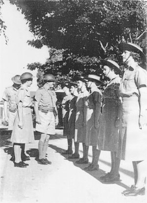 Women's Auxiliary Australian Air Force - WAAAFs during an inspection parade in Townsville