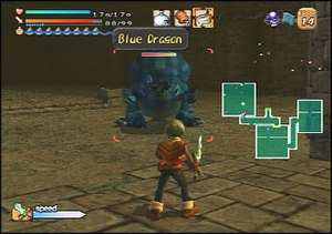 Dark Cloud - In-game screenshot, showing Toan fighting a dragon in one of the game's dungeons