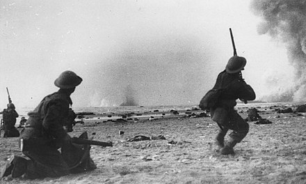 Soldiers were strafed and bombed by German aircraft while awaiting transport. Dunkirksoldier1.JPG
