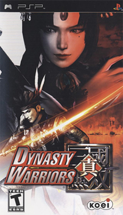 Cover art of Dynasty Warriors, featuring Gan Ning (In the foreground) and Zhen Ji (In the background).