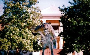 East Central University - A full-size tiger statue in the center of Frank R. Crabtree Sr. Honor Plaza, directly in front of the old Science Hall