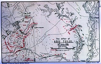 Battle of Abu Tellul - Falls' Sketch Map 28 shows the positions of the 1st Light Horse Brigade at Mussallabeh and Abu Tellul