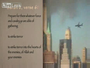 Fitna (film) - Al-Anfal 60 is shown next to a video of the attacks of September 11.