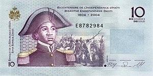 Sanité Bélair - 2004 Haitian banknote featuring Bélair