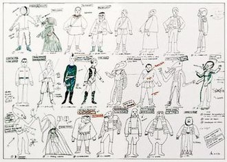 John Mollo - Mollo's illustrated chart of characters for the Mos Eisley Cantina scene in Star Wars (1977)