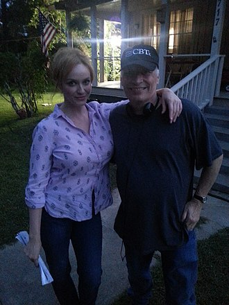 Joe R. Lansdale - Joe Lansdale and Christina Hendricks during shooting of Hap and Leonard season 1 TV program