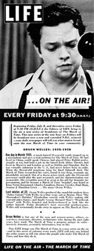 The March of Time (radio program) - Although its cast was uncredited, The March of Time capitalized on the Broadway celebrity of Orson Welles in a 1938 advertisement. Months later Welles employed the series's techniques in his radio version of The War of the Worlds (1938), and he famously parodied the newsreel series in his first feature film, Citizen Kane (1941).
