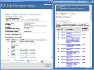 Screenshot of Microsoft Baseline Security Analyzer analysis result