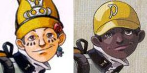 "Megami Tensei - Masao ""Mark"" Inaba as seen in the Japanese versions of Persona (left), and the Revelations localization (right). In the localization of the PlayStation Portable version, this change was reverted."