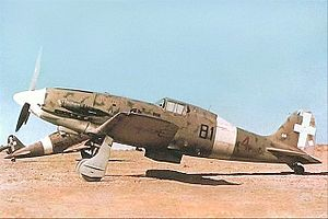 Regia Aeronautica - An early Macchi C.202 (note lack of radio mast) of 81ª Squadriglia, 6° Gruppo, 1° Stormo CT; this photo appears to have been taken in Libya.