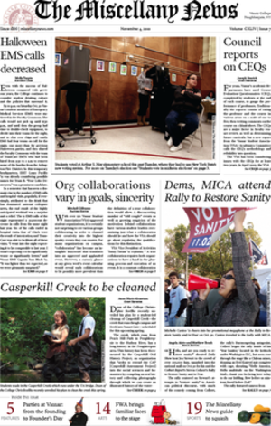 The Miscellany News - Image: Miscellany News front page, November 4, 2010