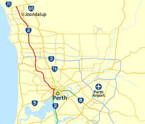 Mitchell Freeway - Map of Perth's northern suburbs with Mitchell Freeway highlighted in red