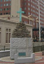 The Christopher Newport Cross monument on the canal, commemorating the cross erected at the current site of Richmond by an English exploration party that claimed the site and the river for King James in 1607. The party was led by Capt. Christopher Newport and Capt. John Smith.