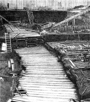 Novgorod Codex - An example of excavated Novgorod boardwalk, built ca. 1120