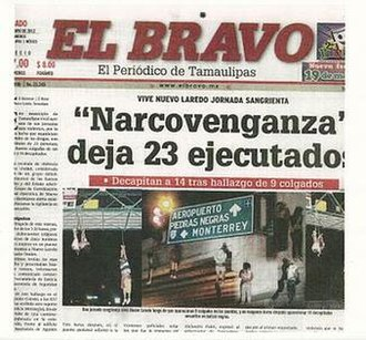 2012 Nuevo Laredo massacres - Front page of the killings in Nuevo Laredo.