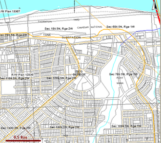 Port Mann - Port Mann Townsite Plan as depicted in 2010 on BC Land Cadastre.