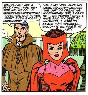 Mastermind (Jason Wyngarde) - Mastermind tries to gain the Scarlet Witch to his side.  Art by Jack Kirby.